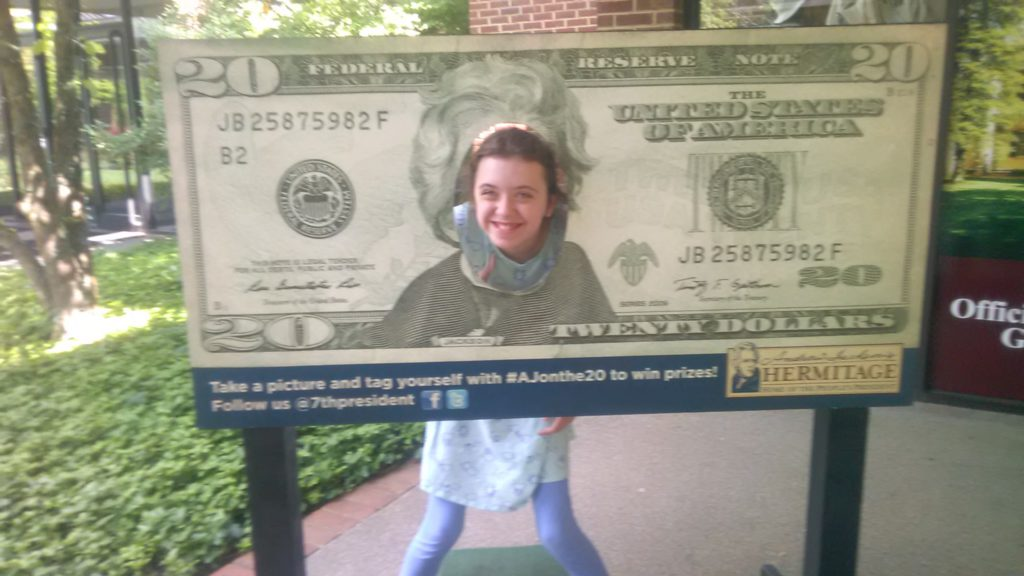 Katie in twenty dollar bill