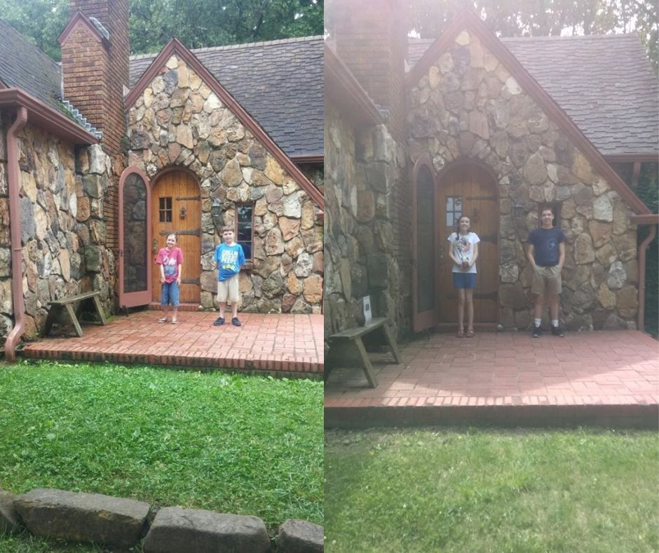 kids next to rock house 2015 and 2019