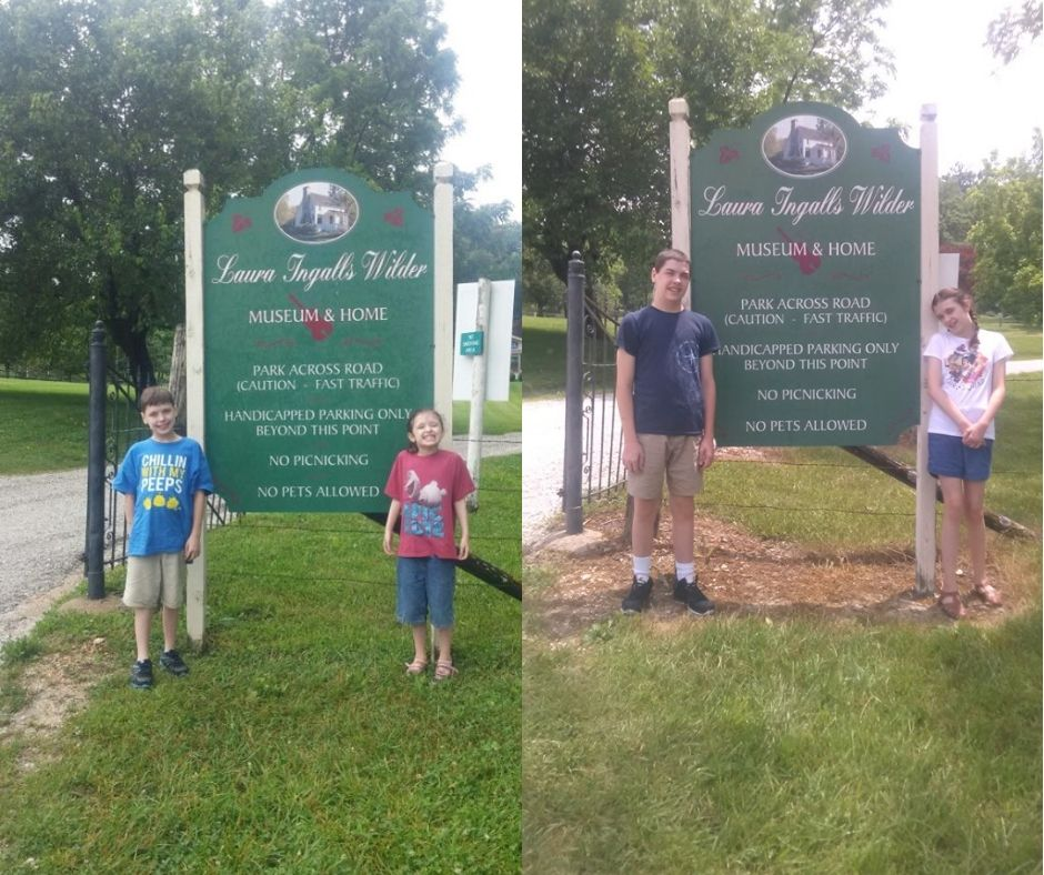 kids in front of Laura Ingalls house 2015 and 2019