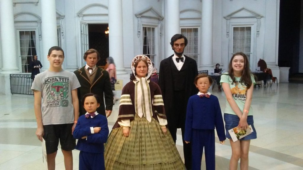 Joshua and Katie with Lincoln family wax figures