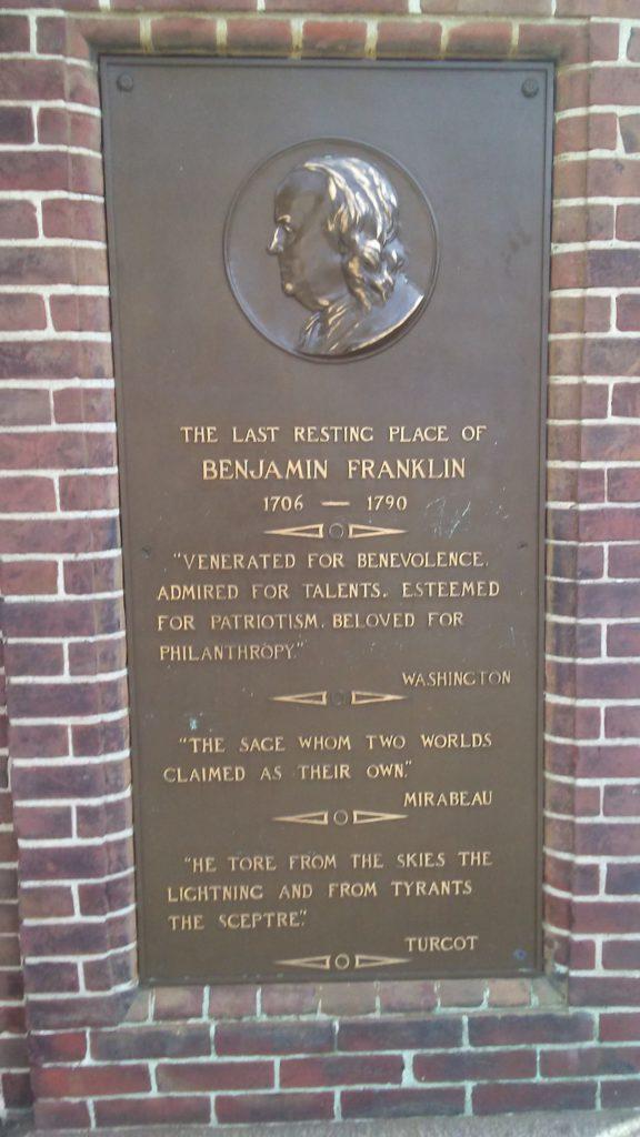 plaque near Benjamin Franklin grave