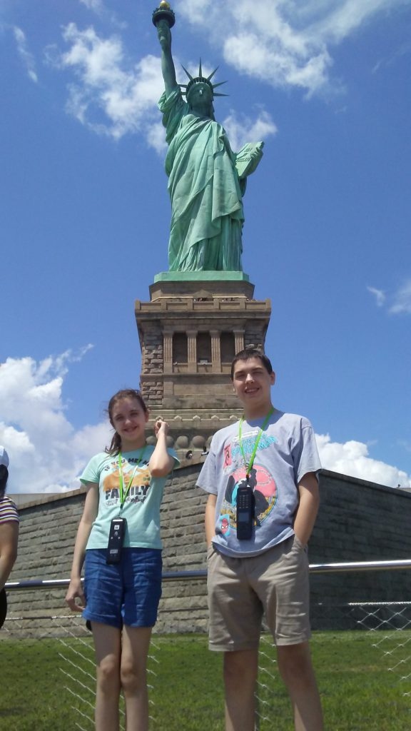 kids at liberty island