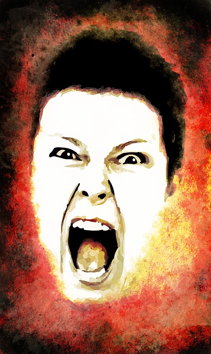 drawing of woman screaming